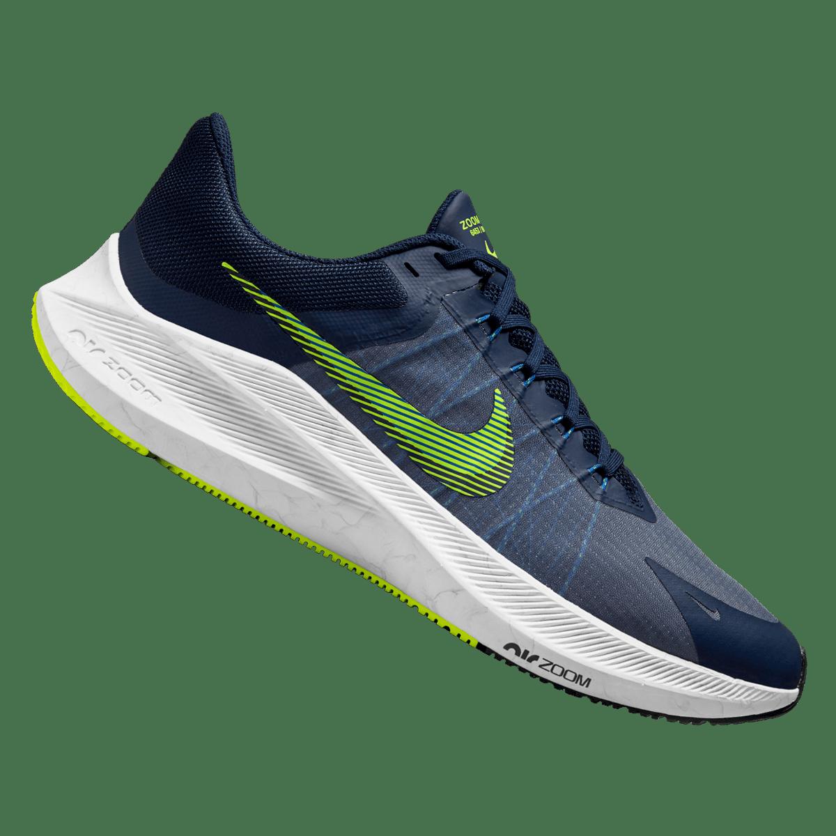 Chaussure de running Nike Air Zoom Winflo 8 bleu foncé / vert fluo