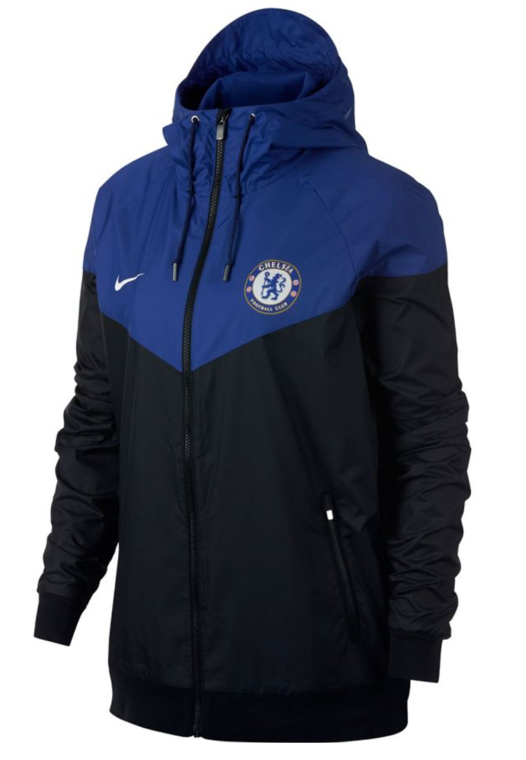 nike chelsea fc fanjacke authentic windrunner schwarz blau. Black Bedroom Furniture Sets. Home Design Ideas
