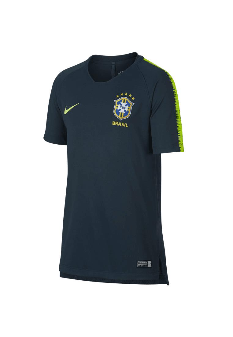Nike Brasilien Kinder Trainingsshirt Breathe Squad Top dunkelblaugelb fluo Fussball Shop