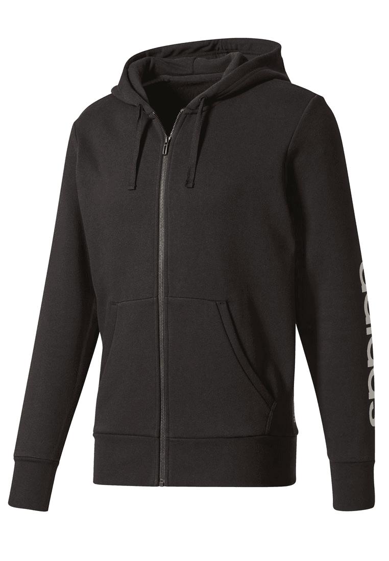 adidas Kapuzenjacke Essentials Linear Full Zip Hoodie Fleece schwarzweiß