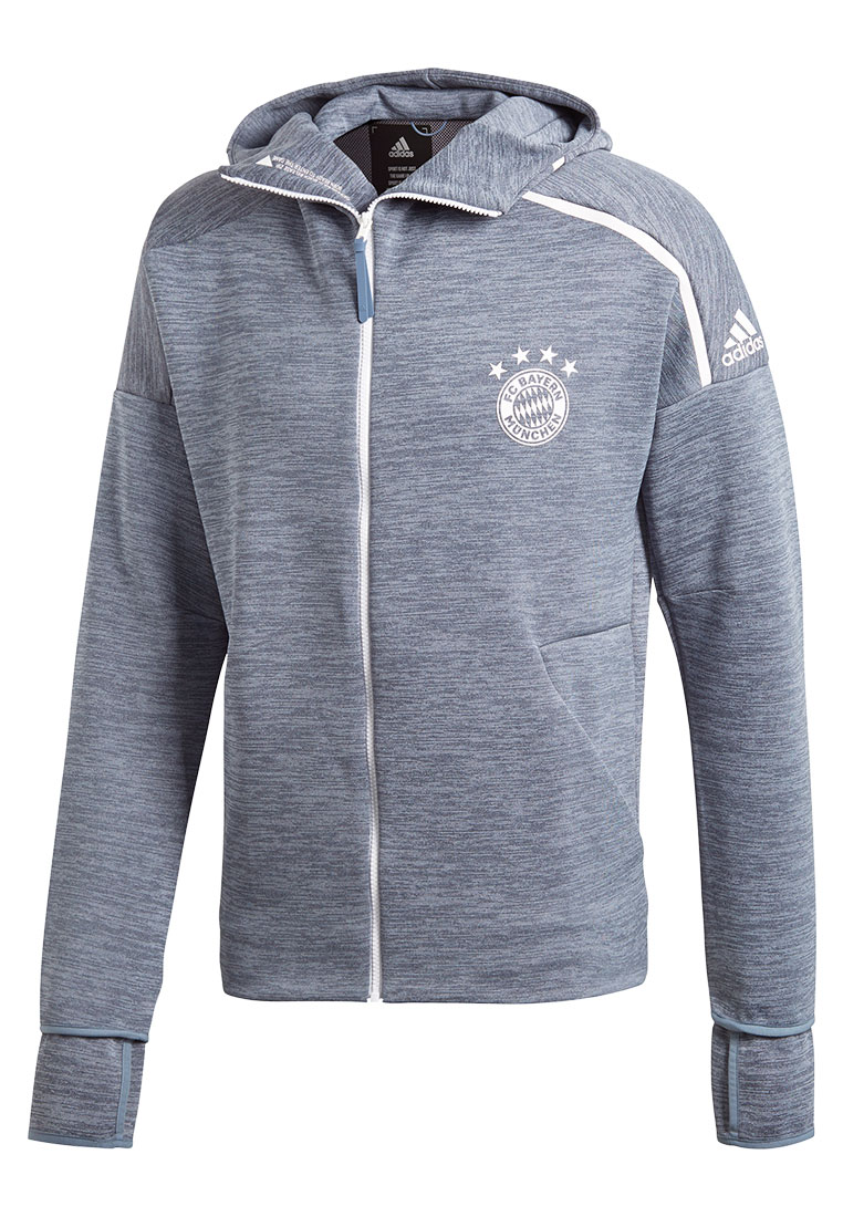 adidas FC Bayern München Kapuzenjacke Z.N.E Hoody 3.0 grau meliertweiß