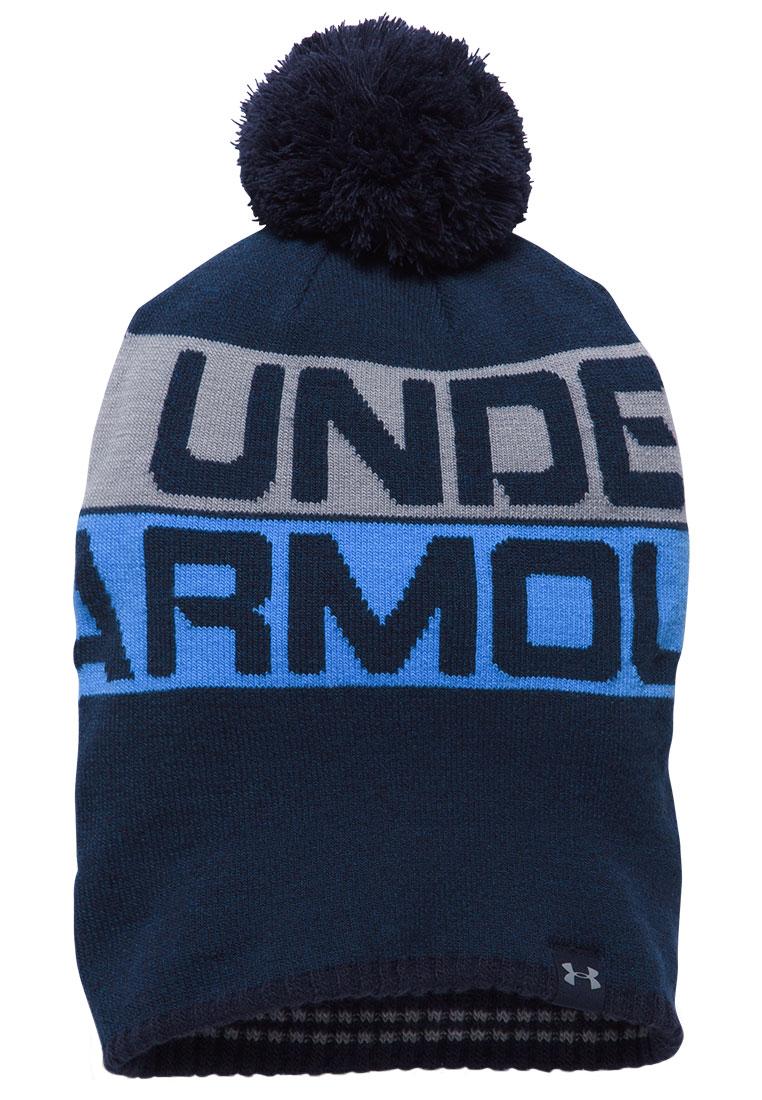 278c4471f9 Under Armour Haube Retro Pom Beanie 2.0 dunkelblau/grau - Fussball Shop
