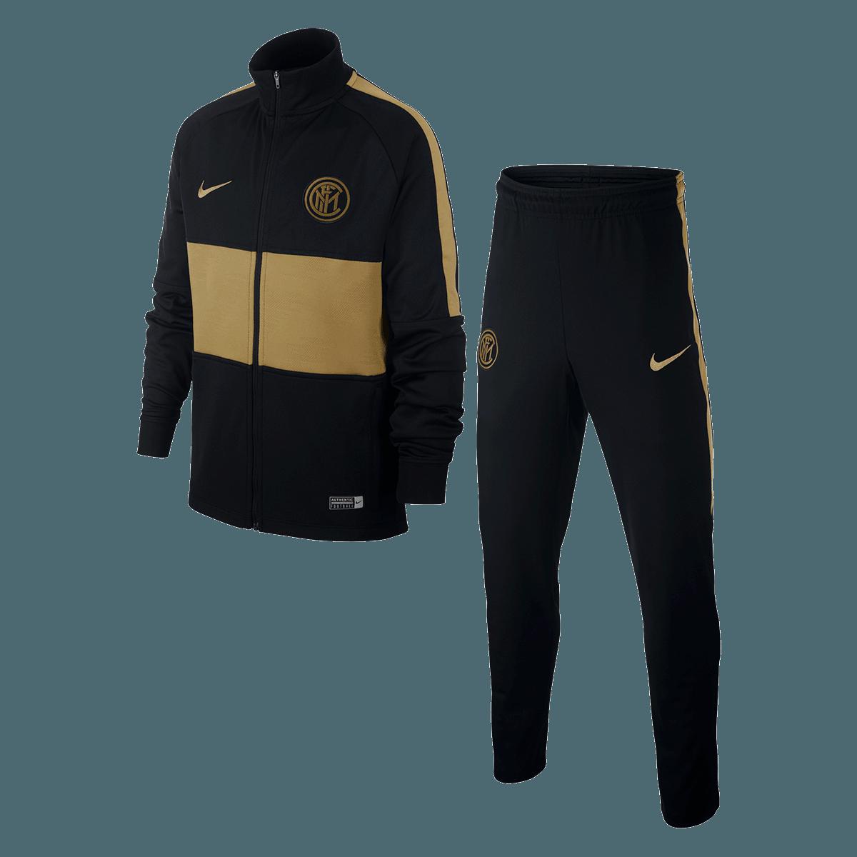 Nike Inter Mailand Kinder Trainingsanzug Strike Track Suit K schwarzgold