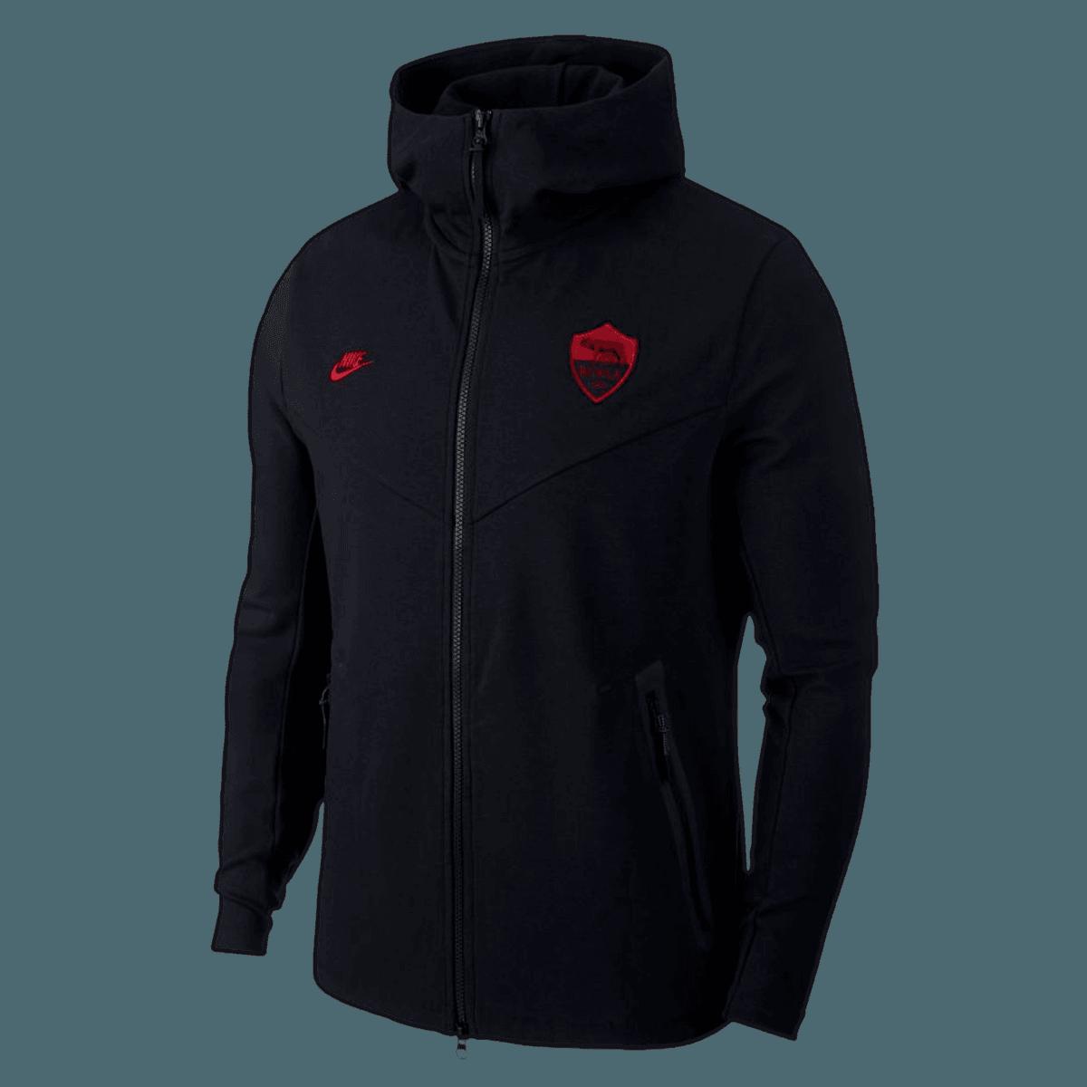 Nike AS Roma Kapuzenjacke Tech Pack CL FZ Hoody schwarzrot