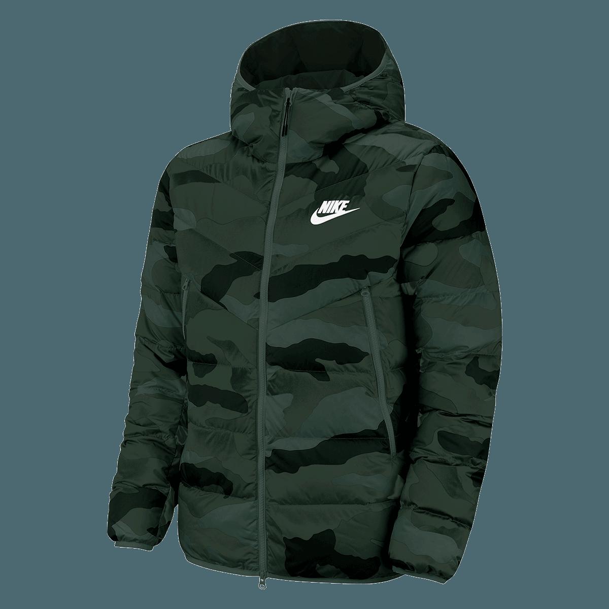 Nike Daunenjacke Sportswear Windrunner Down Fill WR AOP Jacket dunkelgrünschwarz