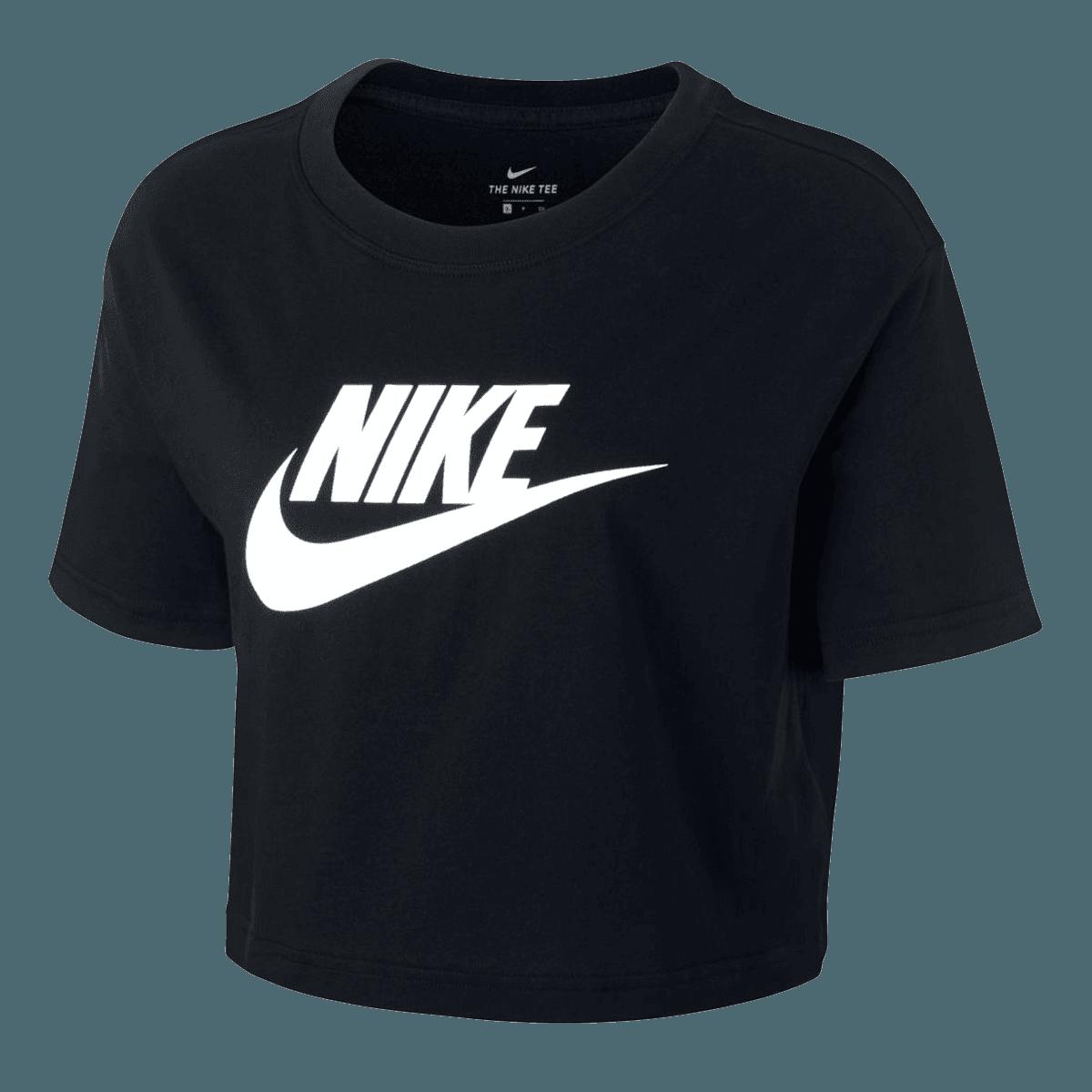 Nike Damen Crop Top Sportswear Essential ICN FTR schwarzweiß