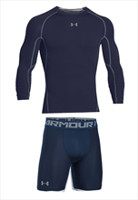 Under Armour Funktionsset 2-teilig HeatGear Langarm Compression dunkelblau/grau