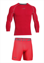 Under Armour Funktionsset 2-teilig HeatGear Langarm Compression rot/grau