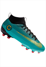 Nike Kinder Fußballschuh Mercurial Superfly VI JR Academy GS CR7 FG/MG türkis/gold