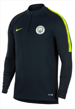 Nike Manchester City trainingstrui Squad Drill Top donkerblauw/fluo geel