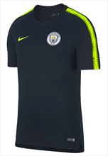 Nike Manchester City trainingsshirt Breathe Squad Top donkerblauw/fluo geel