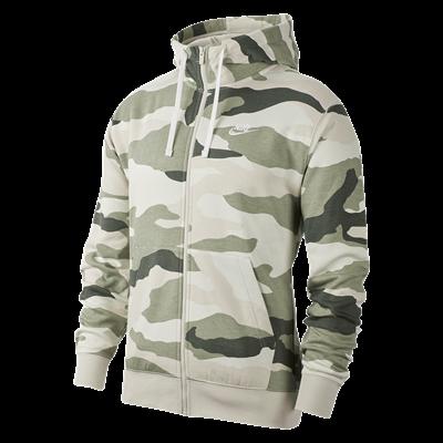 Nike capuchonjack Sportswear Club BB Camo Jacket  lichtgrijs/donkergroen