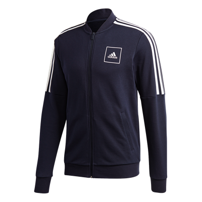 adidas trainingsjack 3S Tape donkerblauw/wit