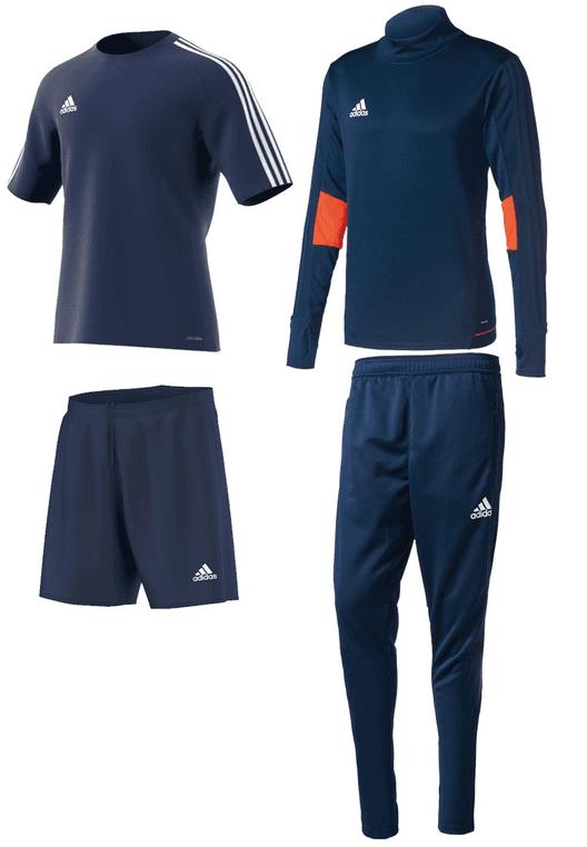 adidas Trainingsset Tiro 17 4-teilig dunkelblau/weiß