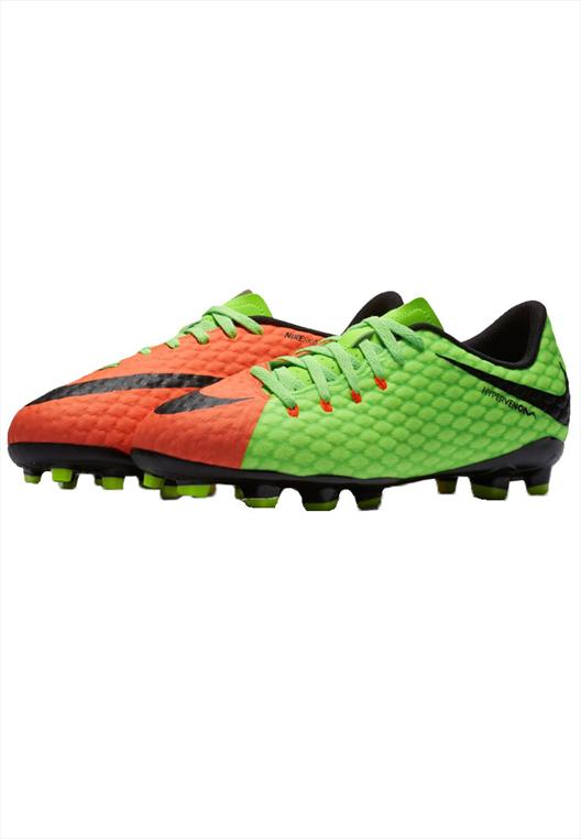 Nike Kinder Fußballschuh JR HyperVenom Phelon III FG grün fluo/orange