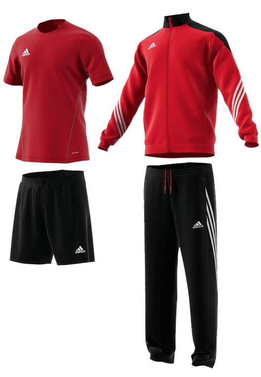 adidas Trainingsset Sereno 14 4-teilig rot/schwarz