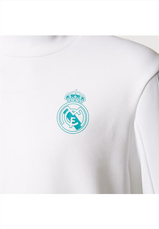 adidas Real Madrid Kinder Trainingspullover weiß/türkis