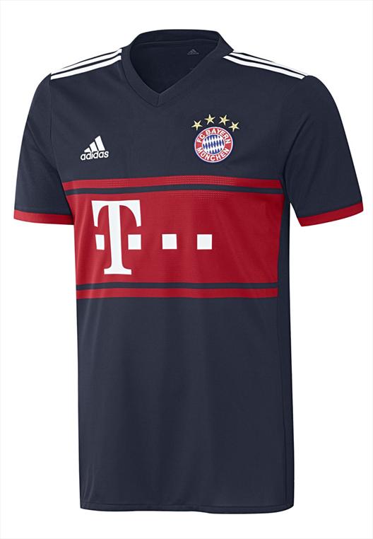 adidas FC Bayern München Herren Auswärts Trikot 2017/18 dunkelblau/rot