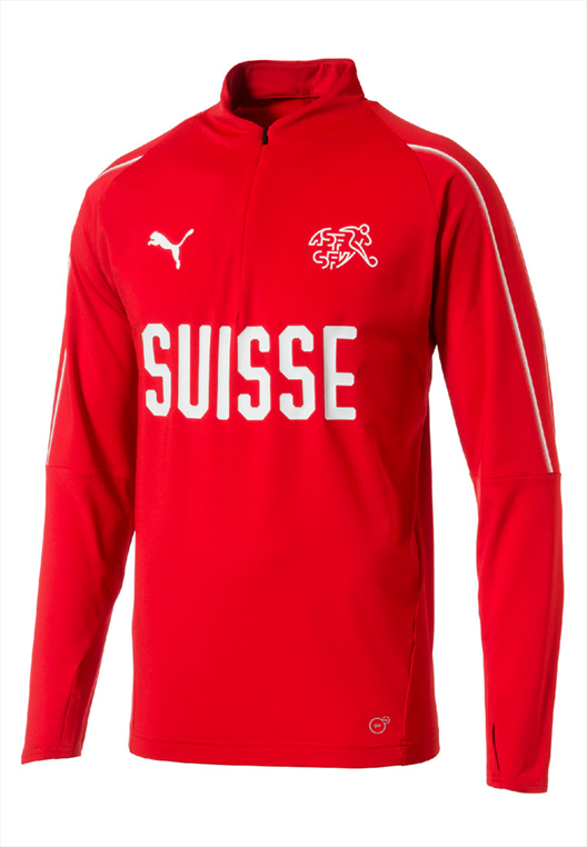 Puma Schweiz Trainings Top 1/4 rot/weiß