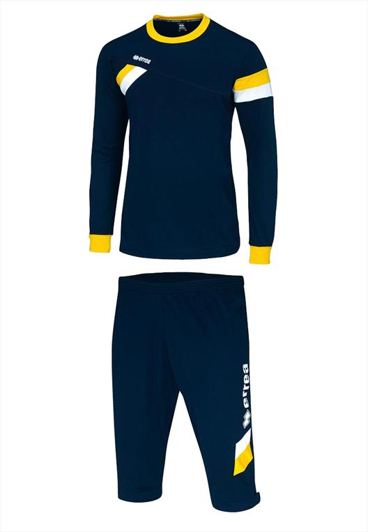 Errea First Set Pullover + 3/4 Hose blau/gelb