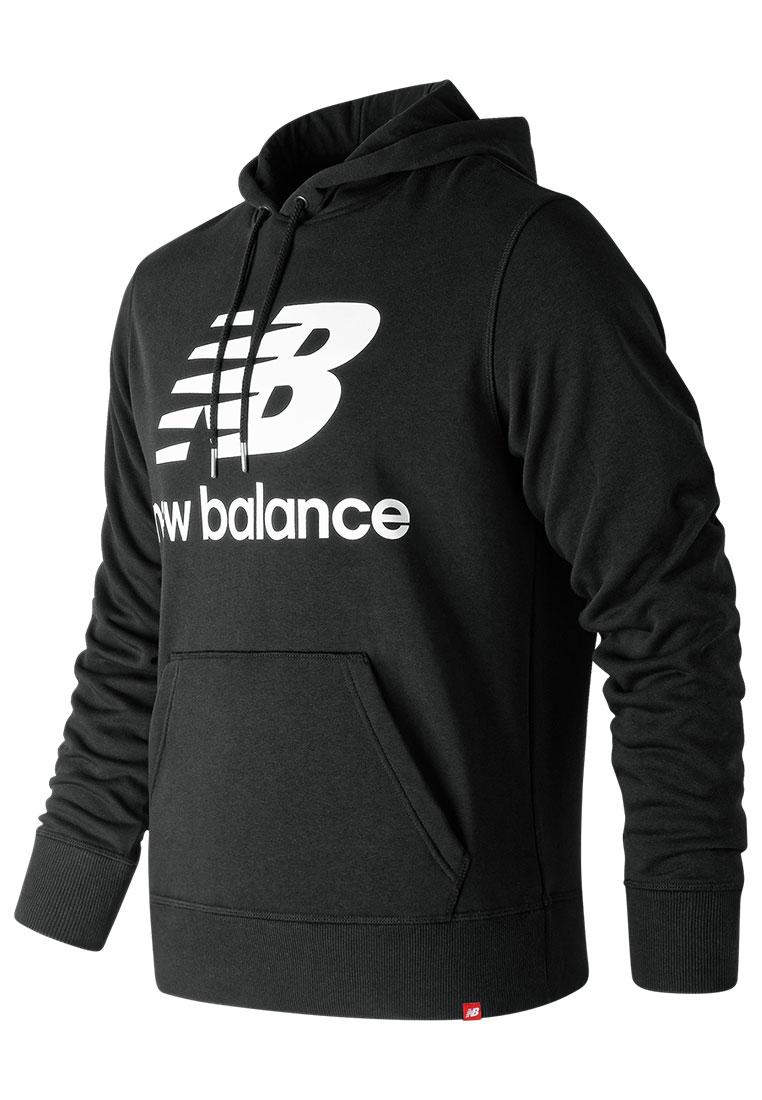 New Balance Kapuzenpullover Essential Stacked Logo PO Hoody schwarz/weiß