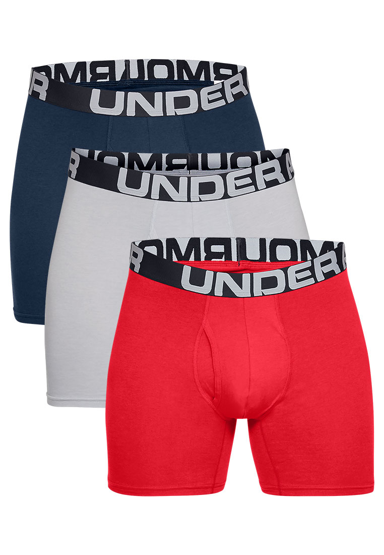 Under Armour Boxershort Charged Cotton 3er Pack rot/hellgrau
