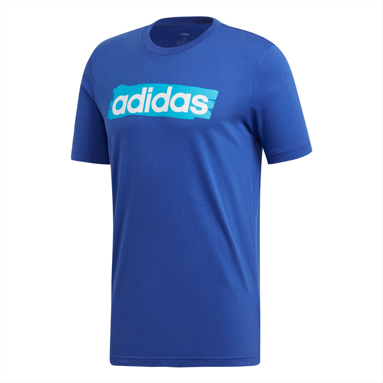 adidas Shirt C Linear Brush Tee blau/weiß