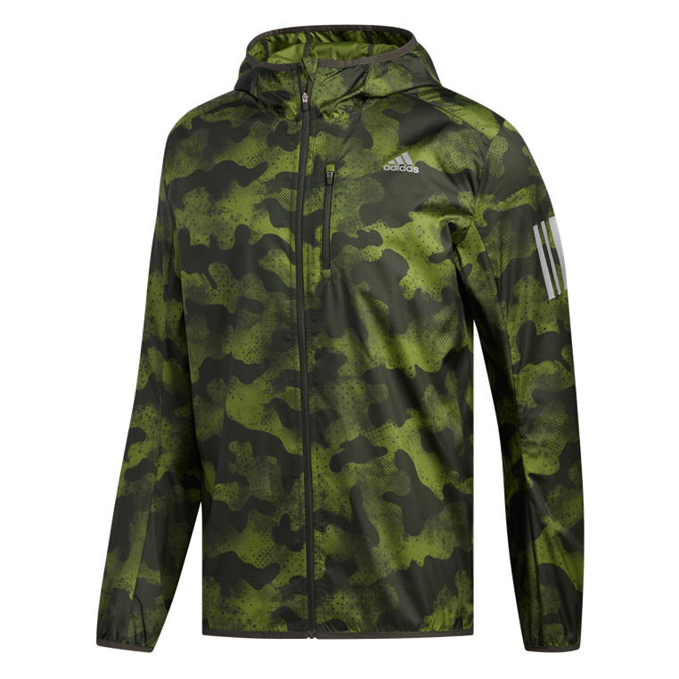 "adidas Kapuzenlaufjacke Camo ""Own The Run"" Jacket olivegrün/anthrazit"