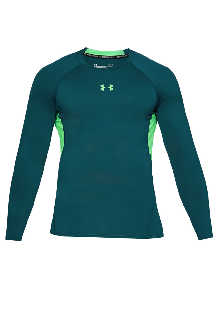 Under Armour Langarm Funktionsshirt HeatGear Compression Top blaugrün/grün fluo
