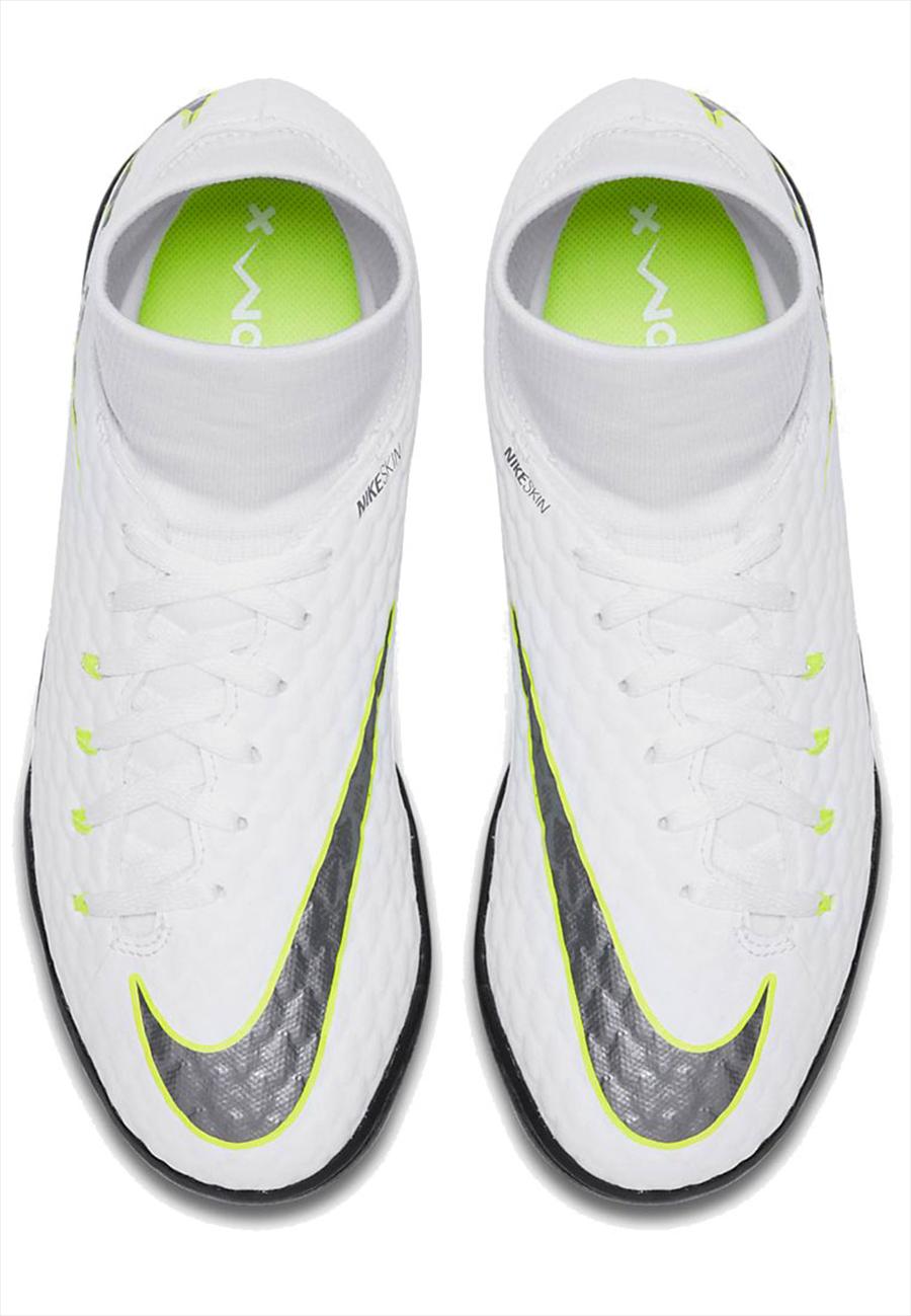 Nike Kinder Fußballschuh Hypervenom PhantomX III JR Academy DynamicFit TF Kunstrasen weiß/gelb fluo Bild 4