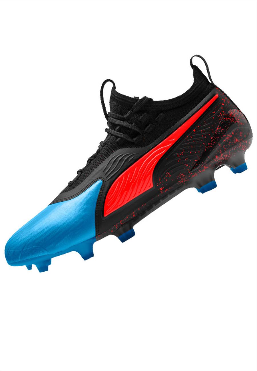 Puma Fußballschuh One 19.1 FG/AG rot/blau Bild 3