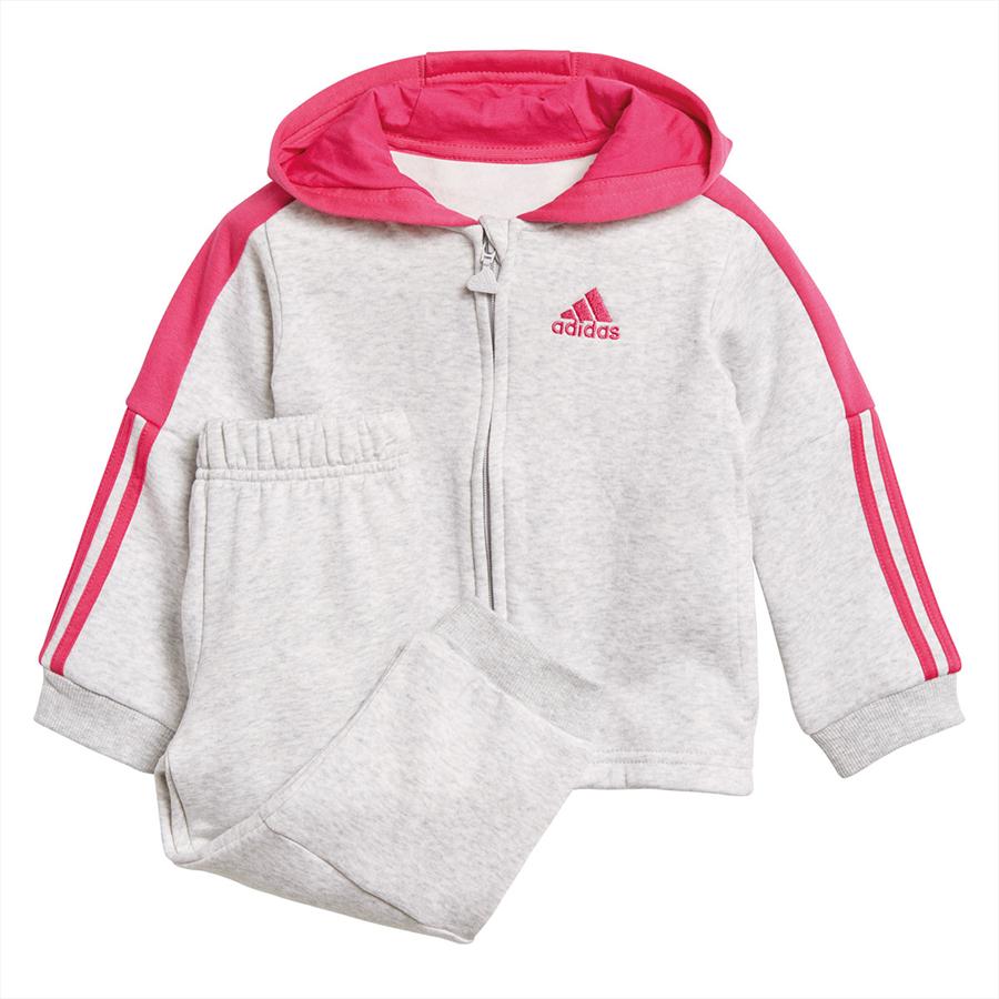adidas Kinder Trainingsanzug Logo Full Zip Hooded Jogger hellgrau/rosa Bild 2