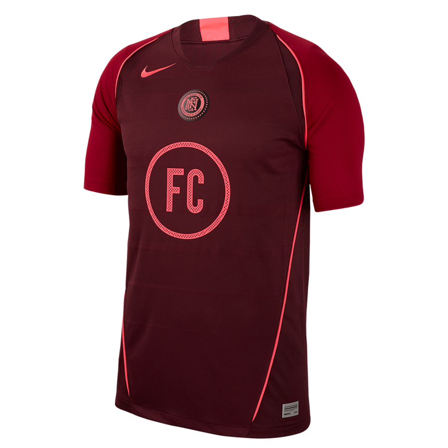 Nike trainingsshirt F.C. Home donkerrood/rood