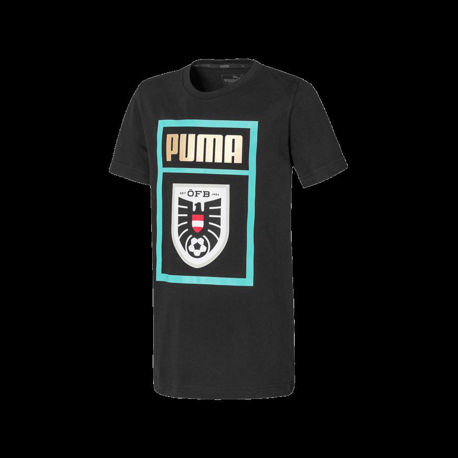 Puma Österreich Kinder Fanshirt Shoe Tag Tee schwarz/mint Bild 2