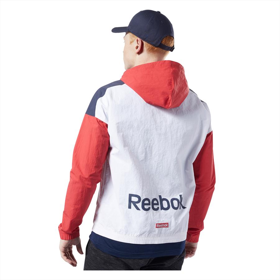 Reebok Kapuzenjacke Training Essentials Linear Logo Windbreaker rot/weiß Bild 3