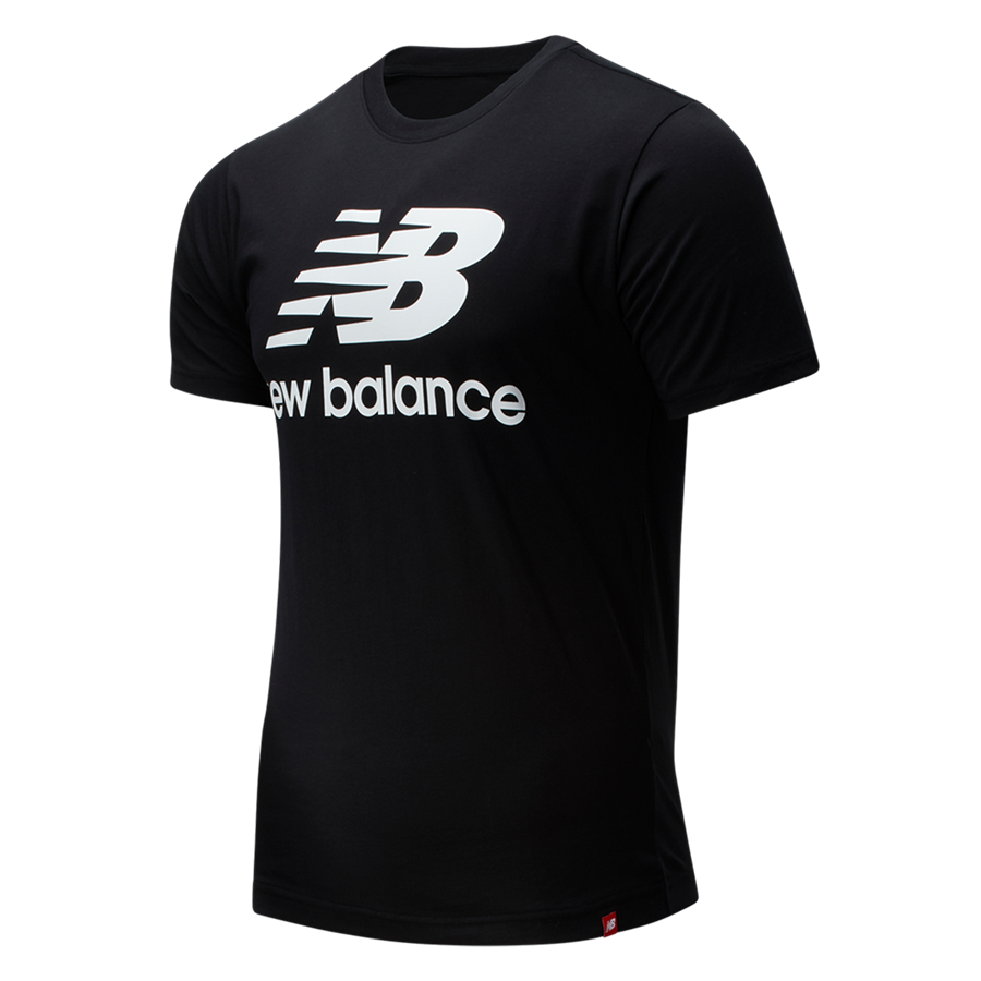 New Balance Shirt Essential Stacked Logo schwarz/weiß