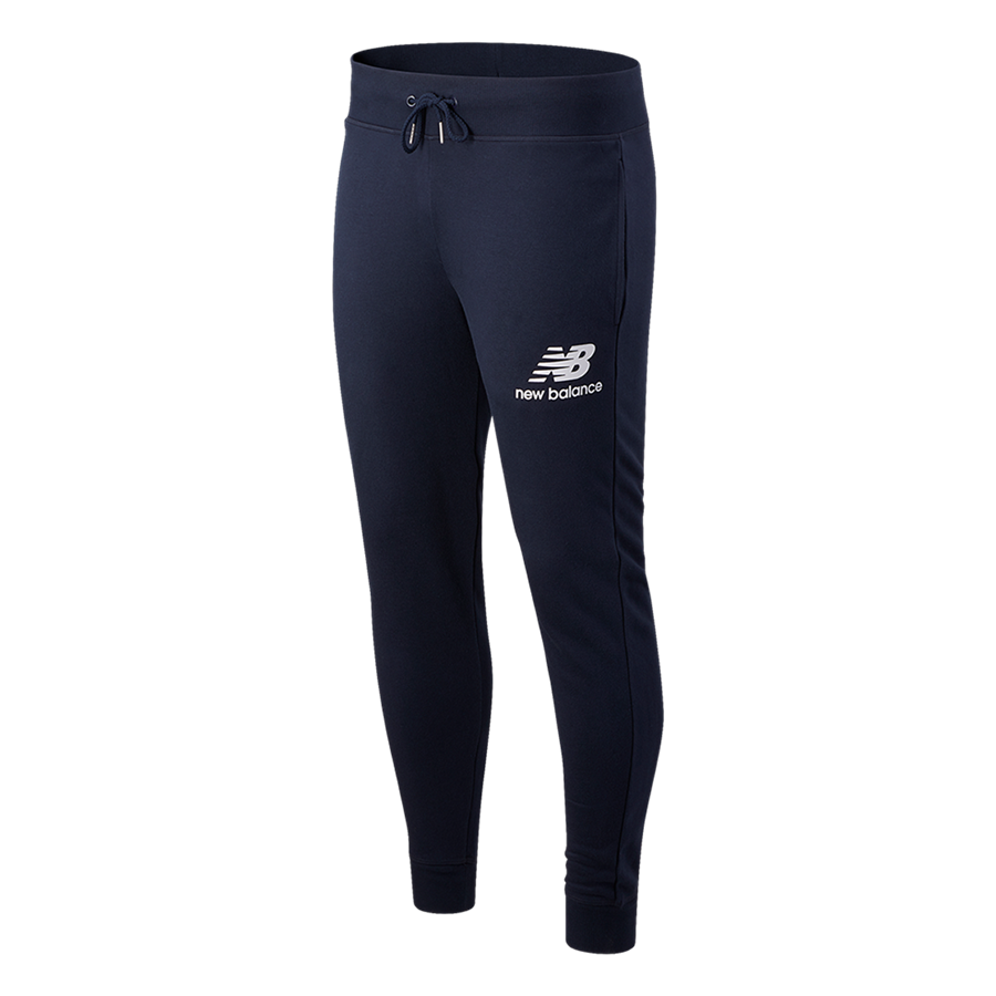 New Balance Jogginghose Essentials Stacked Logo dunkelblau/weiß Bild 2