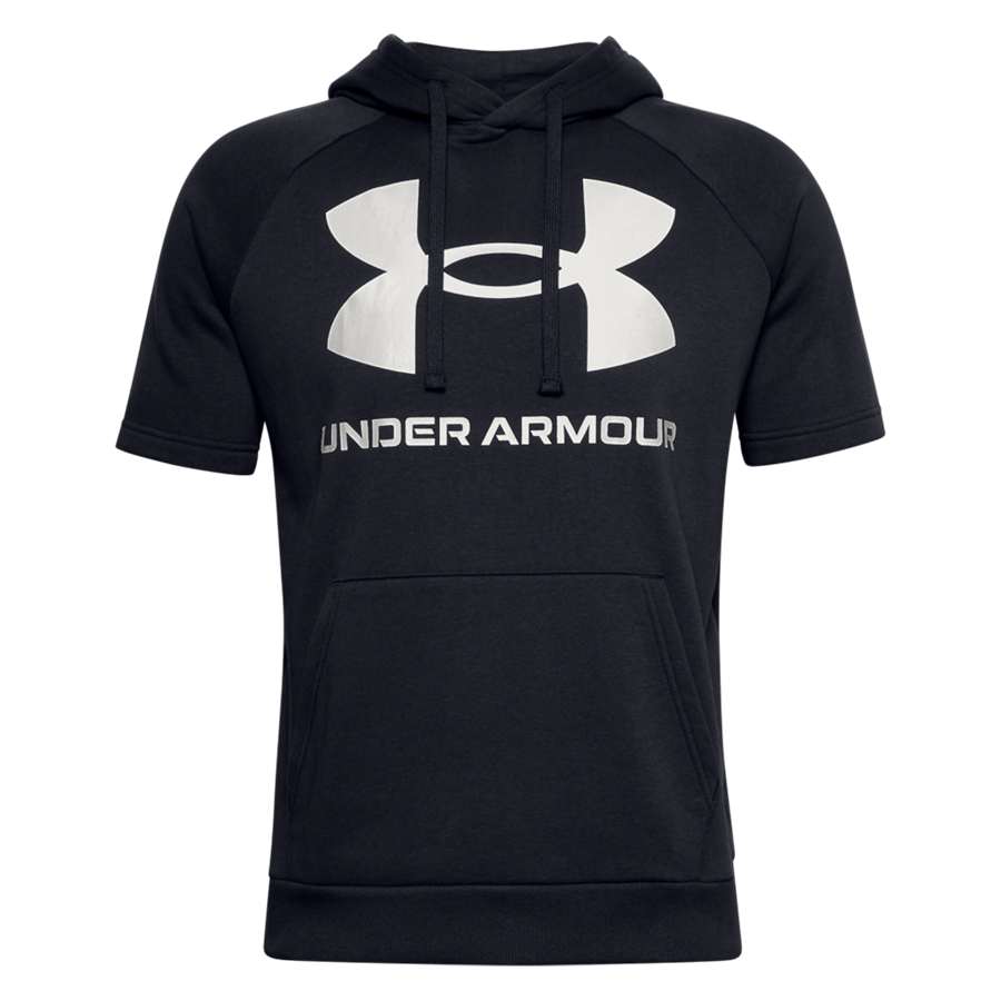 Under Armour Kurzarm Kapuzenpullover Rival Fleece Big Logo schwarz/weiß Bild 2