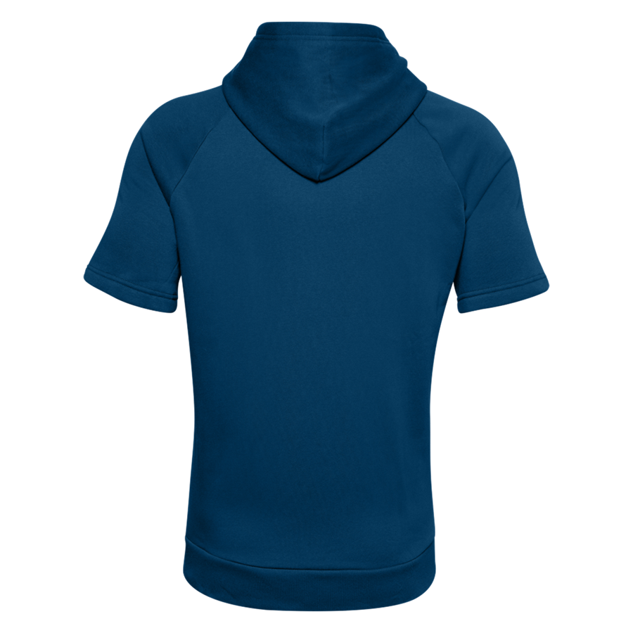 Under Armour Kurzarm Kapuzenpullover Rival Fleece Big Logo blau/weiß Bild 3
