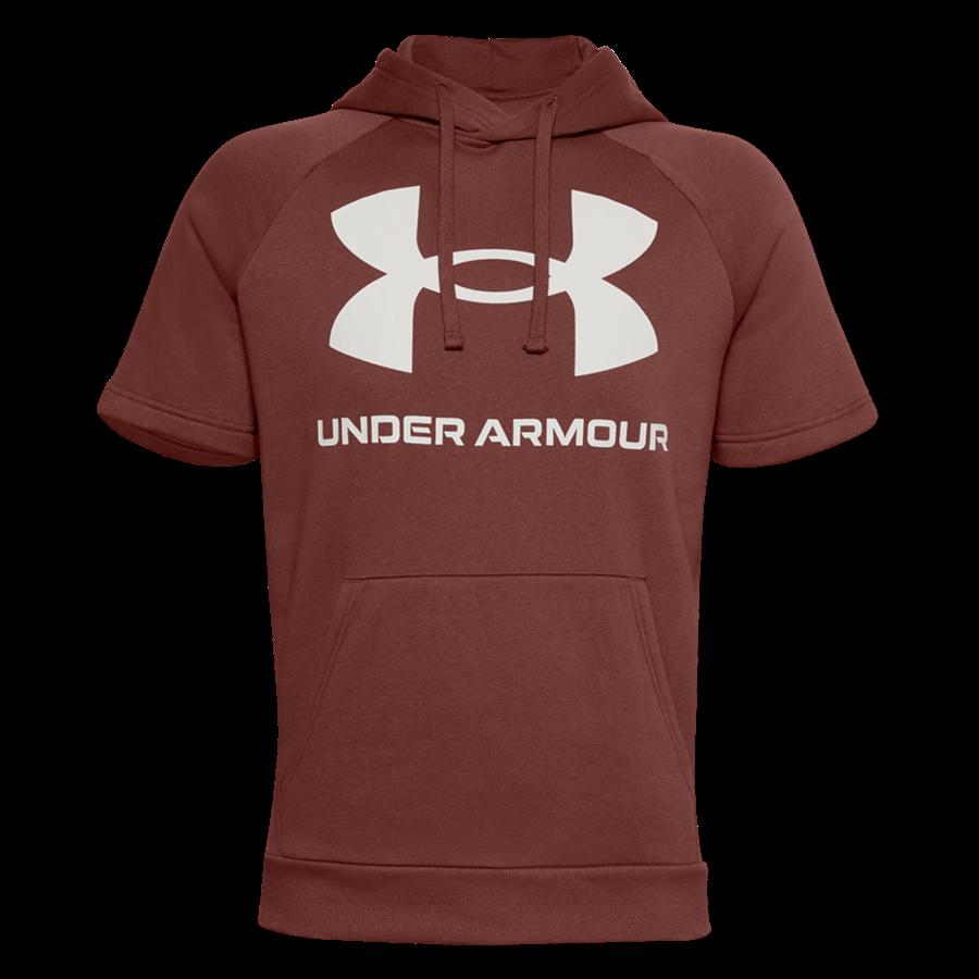 Under Armour Kurzarm Kapuzenpullover Rival Fleece Big Logo dunkelrot/weiß Bild 2