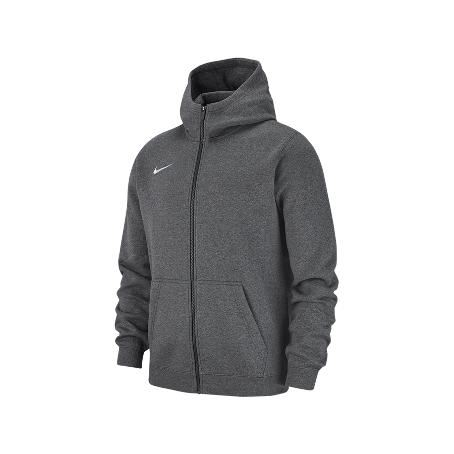 Nike Kinder Kapuzenjacke Team Club 19 Fleece Hoody dunkelgrau/weiß