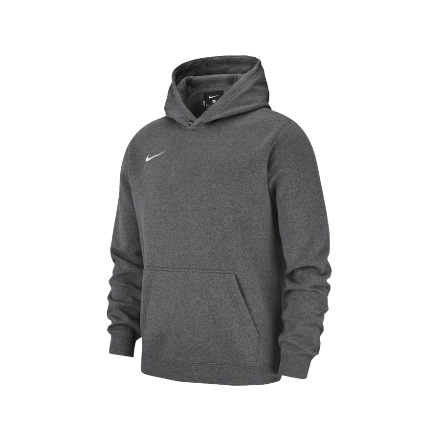 Nike Kinder Kapuzenpullover Team Club 19 Fleece Hoody dunkelgrau/weiß